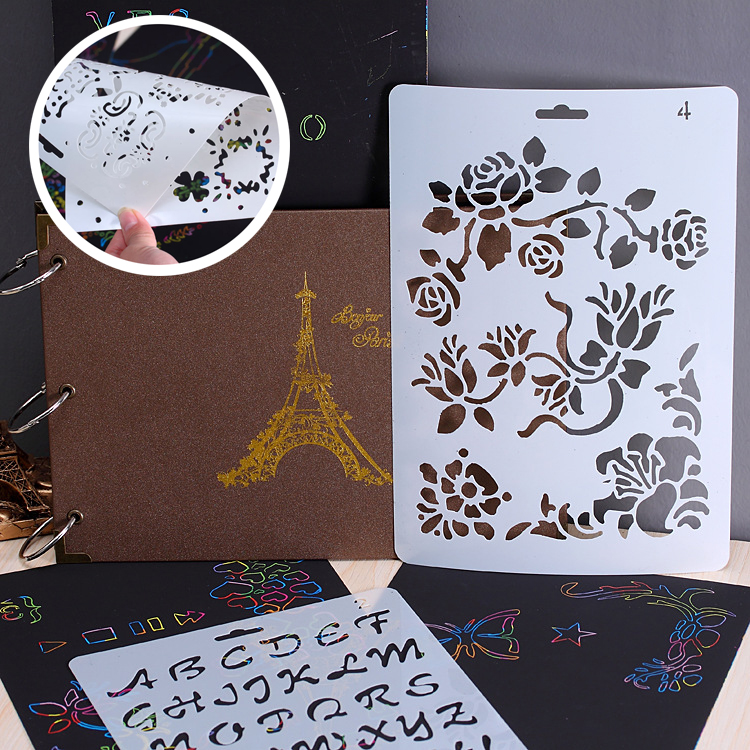 Wecute Scratch Painting Templates DIY Album Theme Lace Ruler Hand-painted Hollow Templates Tool Drawing Stencils Kids Toys Gifts