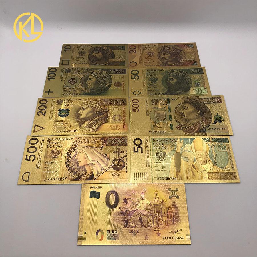 Цветной 24K золотой фольги деньги Золото фольга польский банкнот Set10 20 50 100 200 500 PLN для partriotism ремесла коллекции