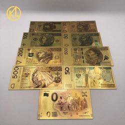 Colored 24K Gold Gold Foil Money Gold Foil Polish Banknote Set10 20 50 100 200 500 PLN for partriotism crafts collection