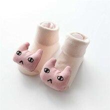 Носки для маленьких девочек и мальчиков, одноцветные Нескользящие теплые носки-тапочки для новорожденных с объемной аппликацией в виде кролика, грибов, Листьев, медведя, дерева, на возраст 0-18 месяцев, A20