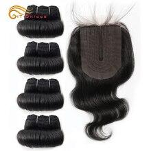 Brazilian Body Wave Bundles With Closure T Part Human Hair Closure and Bundles Short Remy Hair 4 Bundles With Lace Closure