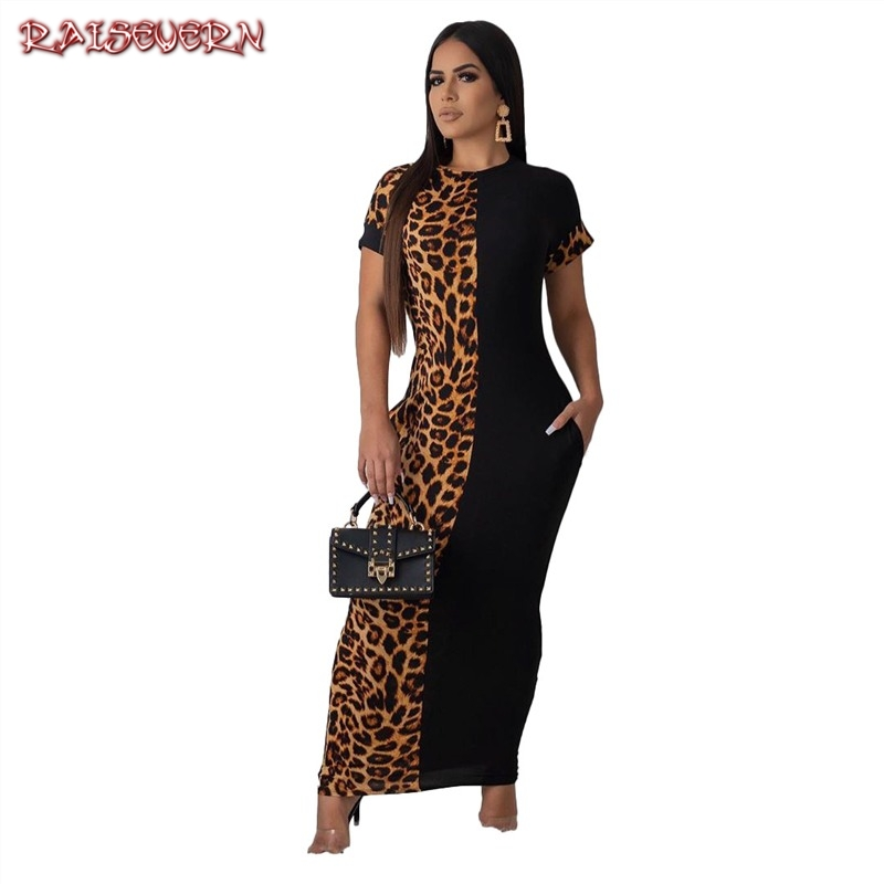 Pathworn Leopard Print Short Sleeve Slim Bodycon <font><b>Sexy</b></font> Dress 2019 Spring Summer Women Streetwear Party <font><b>Festival</b></font> Dresses <font><b>Outfits</b></font> image