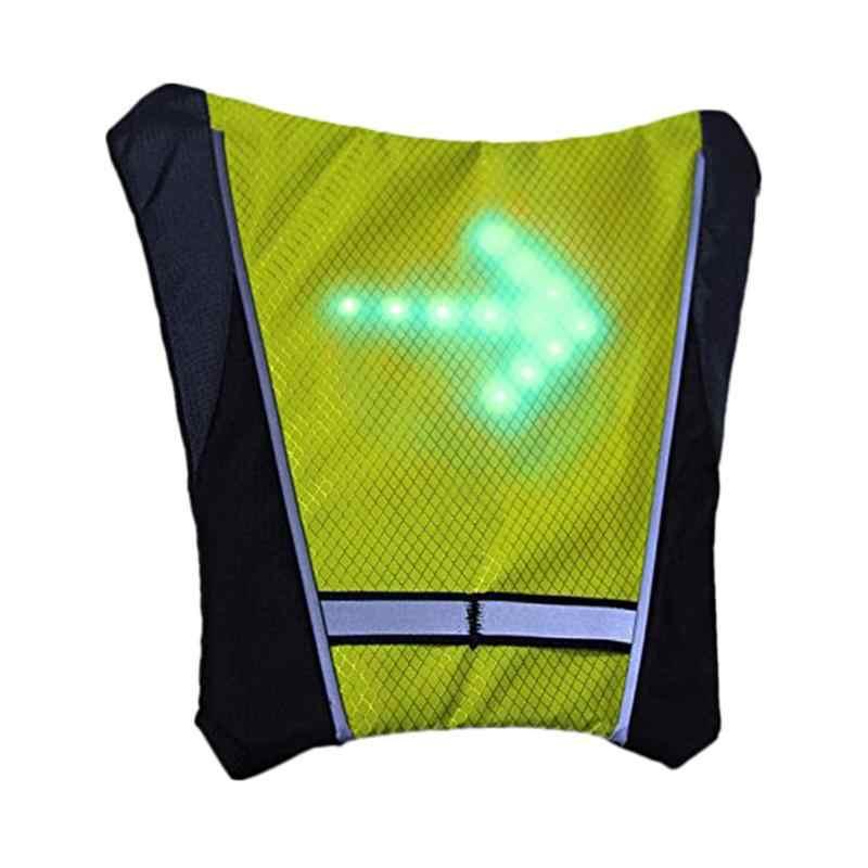 Fietsen Fiets Vest LED Draadloze Veiligheid Richtingaanwijzer Vest Voor Fiets Rijden Night Waarschuwing Rugzak Leidend Licht