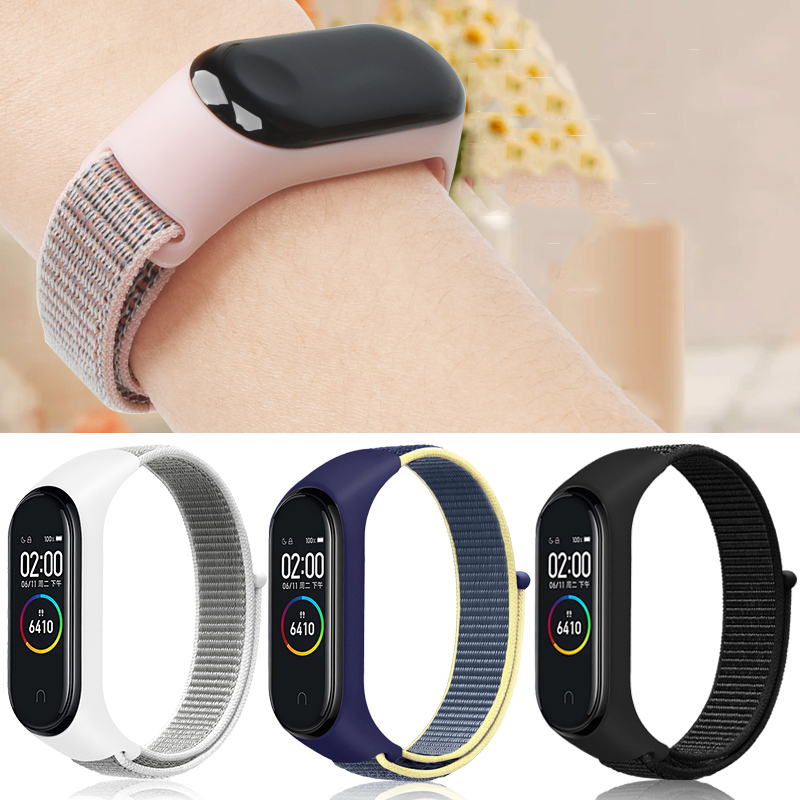 Replaceable Nylon Bracelet For Xiaomi Mi Band 3 4 Strap Nylon Sport Wristband For Mi Band 3 Band 4 Smart Watch Breathable Strap