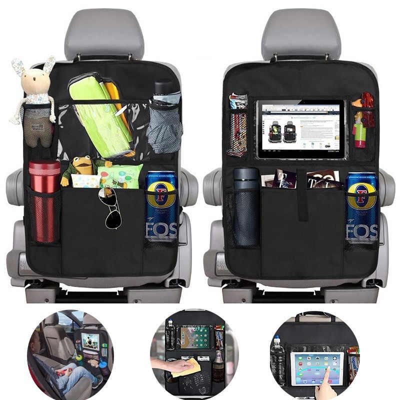 Cubierta impermeable del asiento trasero Universal con pantalla t/áctil de 28 19.5 cm Gobesty Organizador del asiento trasero del coche almacenamiento Kick Mats Organizer