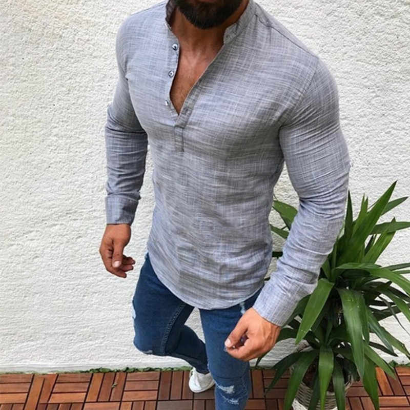 H Men's Fashion Black White  Loose Long Sleeve Shirt Lapel Casual Shirt Male Clothing Comfort Top Plus Size