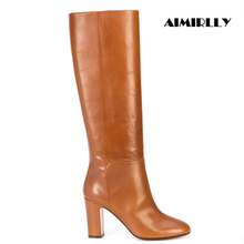 Winter Boots Block-Heel Women's Shoes Brown Black Ladies PU Pull-On Round-Toe Autumn