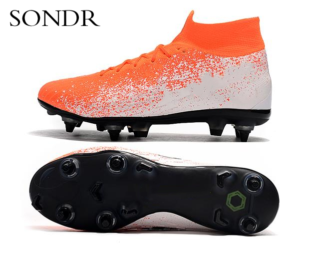 Outdoor Men Boys Soccer Shoes Football Boots High Ankle Kids Turf Cleats Training Sport Sneakers Men Long Spikes Futsal Shoes