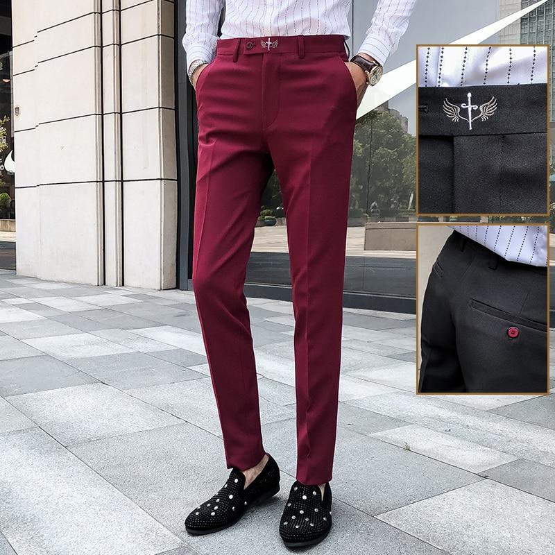 Burgundy Red Pants Mens Green Elegant Pants Mens Blueslim Dress Pants Trousers Mens Formal Rousers Skinny Winter Office Dress