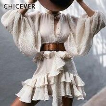 Chicever лоскутное платье с оборками для женщин круглым вырезом
