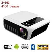 TOPRECIS T8 Full HD Mini 4K Projector LED LCD 2+16G 4500 Lumens 1080P Android Amlogic Home Cinema Theatre Media Video Player