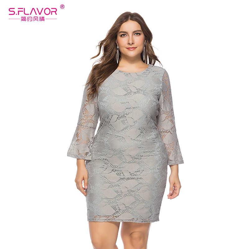 S. smaak Voorjaar Vrouwen Lace Mini Jurk Plus Size Elegant Lady Casual Lange Mouw Bodycon O Neck Grote Maat Zomer Vestidos