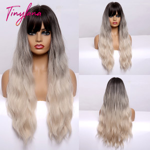 TINY LANA długa mieszana blond syntetyczna peruka z grzywką perwersyjne kręcone naturalne peruki Harajuku żaroodporne dla kobiet afroamerykanów