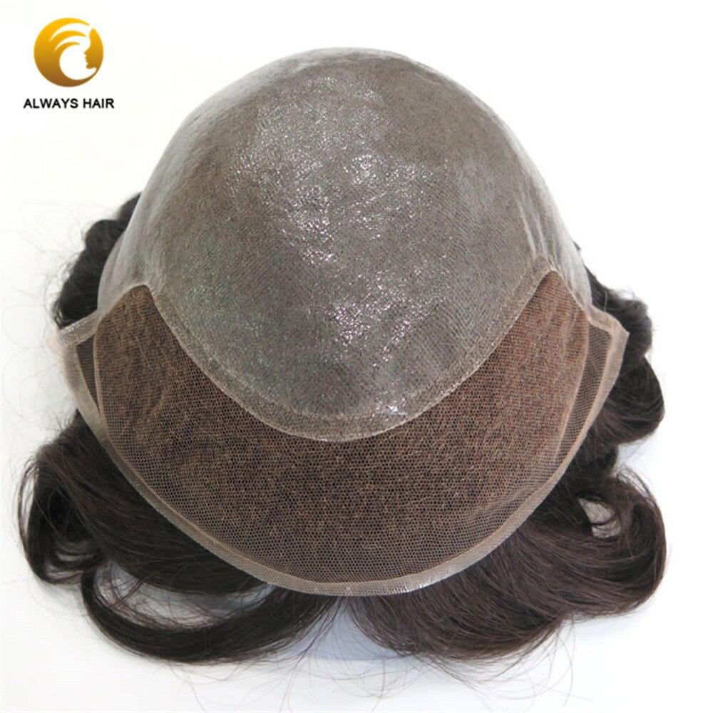 Ominilace noeuds blanchis dans la peau avant Base indien cheveux humains toupet 6