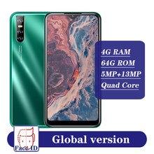 Android 5.1 MTK écran goutte d'eau Smartphones visage ID débloqué A51 Celulares 4G RAM 64G ROM Quad Core téléphone portable téléphone portable