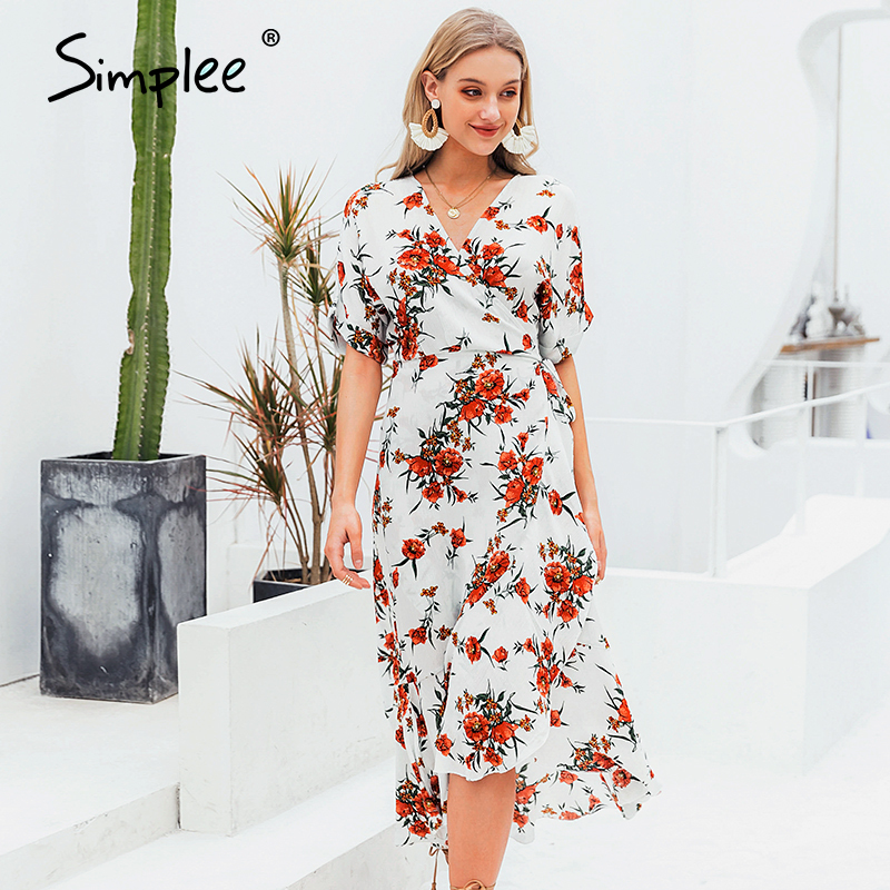 Simplee Floral Print Sash Bow Tie Women Midi Dress V Neck High Waist Female Beach Dress Holiday Spring Summer Ladies Dresses New