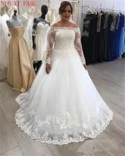 Long Sleeve Lace Appliques Wedding Dresses Boat Neck Ball Gown Bridal Dress Wedding Gowns vestidos de noiva 2020 suknia slubna стоимость