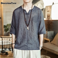 2019 chinese traditional men's tang suit tops oriental shirts for men hanfu blouse cheongsam linen vintage style clothing