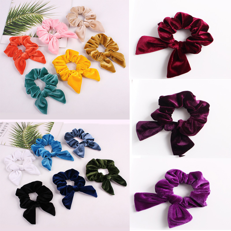 Soft Velvet Satin Big Elastic Hair Rope for Women Yellow Pink Black Red Hair Bow Ties Scrunchies Girls Hair Bands Hairbands image