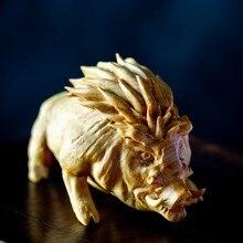 Cczhidao-cerdo fu de 9cm, jabalí salvaje, tallado de madera, animal del zodíaco, decoração do hogar, artesanías, adorno
