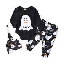 3pcs Newborn Halloween Clothing Ghost Print Bodysuits For Girls Clothing Set Long Trouser Baby Boys Clothes Set Infant Gift 2019(China)