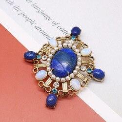 Бесплатная доставка, брошь из медного материала, натуральные камни, голубой мрамор, лазурит, нежный винтажный дизайн