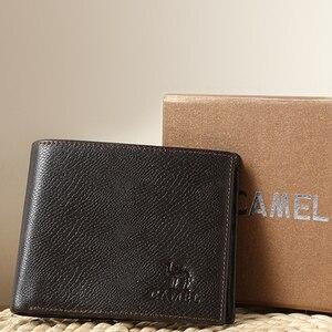 Image 5 - Camel carteira masculina de couro legítimo, carteira masculina compacta feita em couro legítimo com design de camel, estilo curto e casual