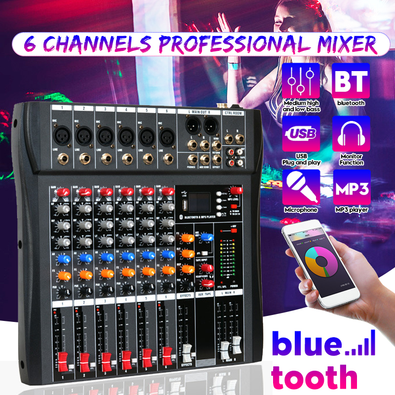 Professional 6 Channel USB Studio Audio Bluetooth DJ Mixing Console Amplifier Karaoke Mixer Digital Mini Microphone Sound Mixer