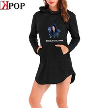 Billie Eilish 20th Century Tour Fashion Hoodie Dress Sport Shirt Pocket Harajuku Autumn Long Sleeve Dress Streetwear Top(China)