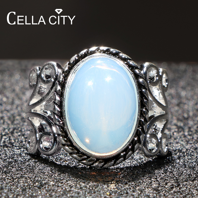 Cellacity NEW HOT SALE Moonstone 925 Ring For Women Thai Silver Fine Jewelry Hyperbole Oval Gemstones Female Party Rings Gifts