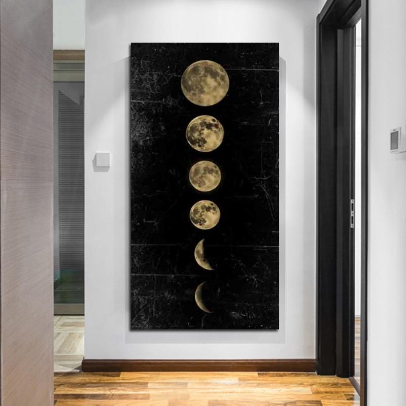 Nórdico grande tamanho de ouro arte pintura da lona lua parede arte imagem minimalista cartaz impressão universo pintura decoração casa interior