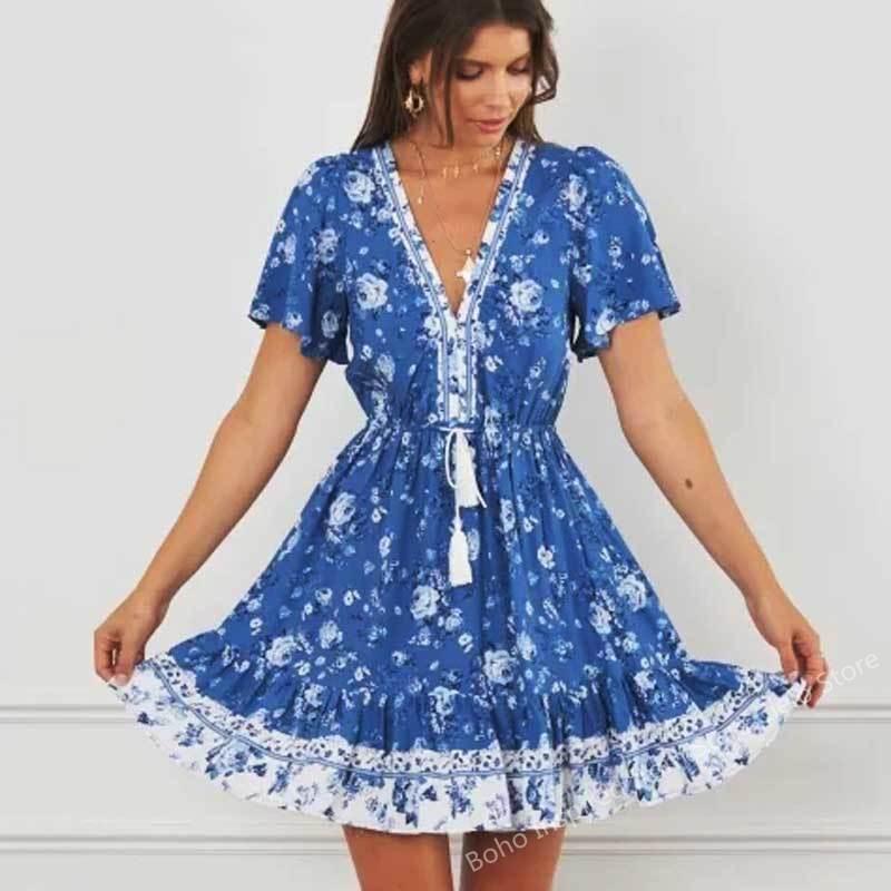 SALEQI Blue Floral summer dress rayon short sleeve Tie up tassel waistband boho dress V-neck casual mini women dress new 2021