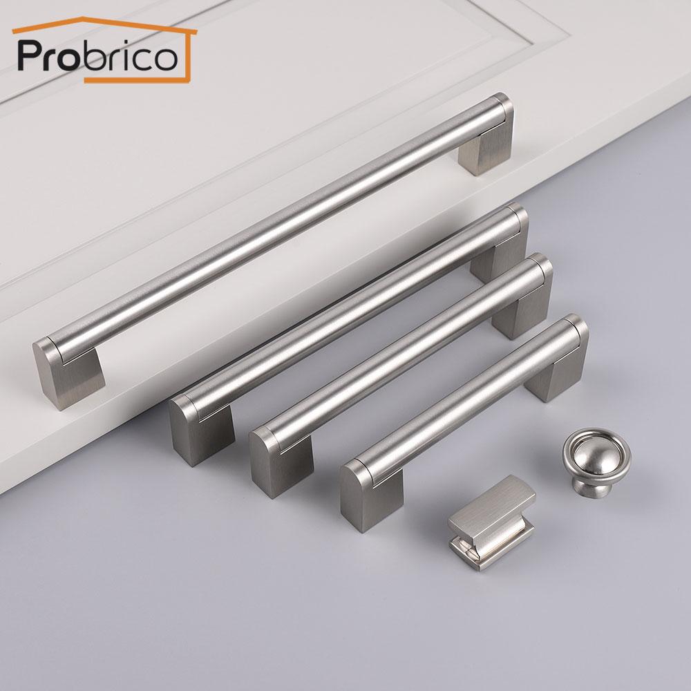Probrico puxadores de móveis de aço inoxidável puxa armário cômoda gaveta botões porta da cozinha armário do banheiro alças
