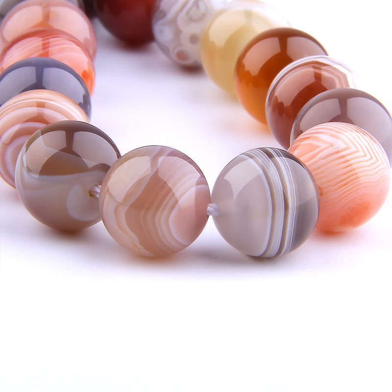 Natural coffee Botswana Agates bead Spacer Loose stripe agat Beads 6 8 mm Round Gem Stone beads DIY For bracelet jewelry making(China)