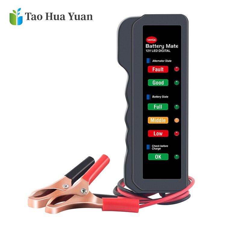 New Mini Portable 12V Car Battery Tester Digital Alternator Tester 6 LED Lights Display Car Diagnostic Tool Auto Battery Tester