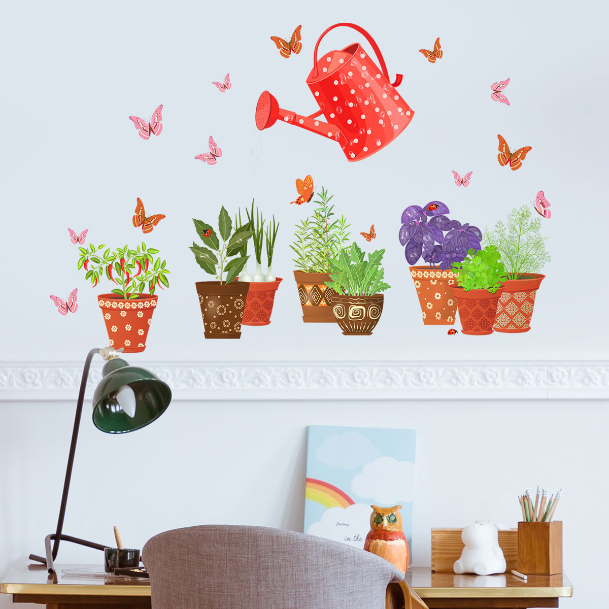 Green Plant Butterfly Watering Can Wall Stickers Living Room Bedroom Balcony Decorative Wall Stickers