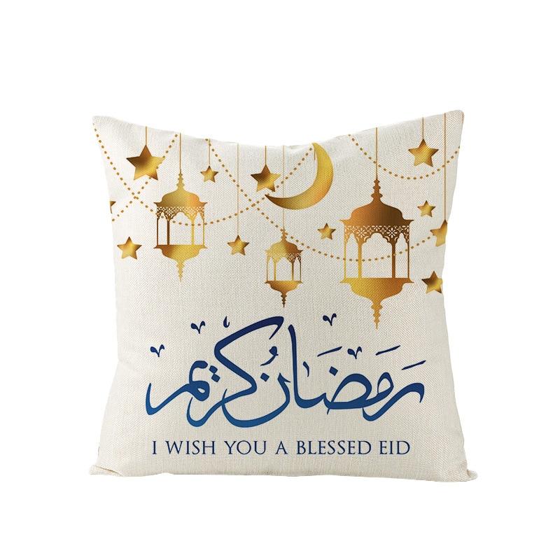 2020 Islam Muslim Cushion Covers Eid Ramadan Kareem Moon Art Cushion Cover Decorative Linen Pillow Case Eid Mubarak Pillowcase