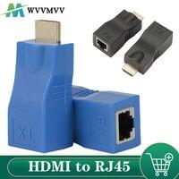 WVVMVV 1 paio Extender compatibile HDMI 4K 1.4 30M Extender a RJ45 su Cat 5e/6 adattatore Ethernet LAN di rete per HDTV HDPC