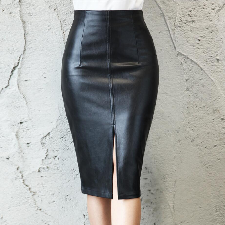 Women PU Faux Leather Midi Pencil <font><b>Skirts</b></font> Ladies <font><b>Sexy</b></font> Tube bodycon open split <font><b>Skirt</b></font> Saia Femininas Plus Size <font><b>5XL</b></font> r2495 image