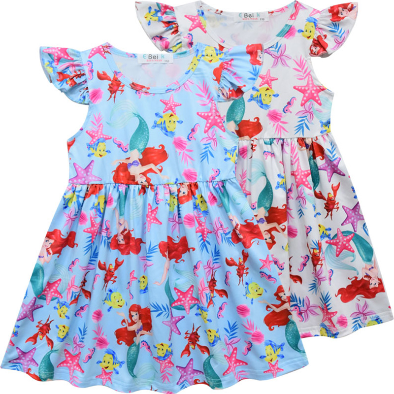 Girls Dress 2019 New Summer Kids Cartoon Printing Design Dresses for Child Casual Wear 3 -7 Y image