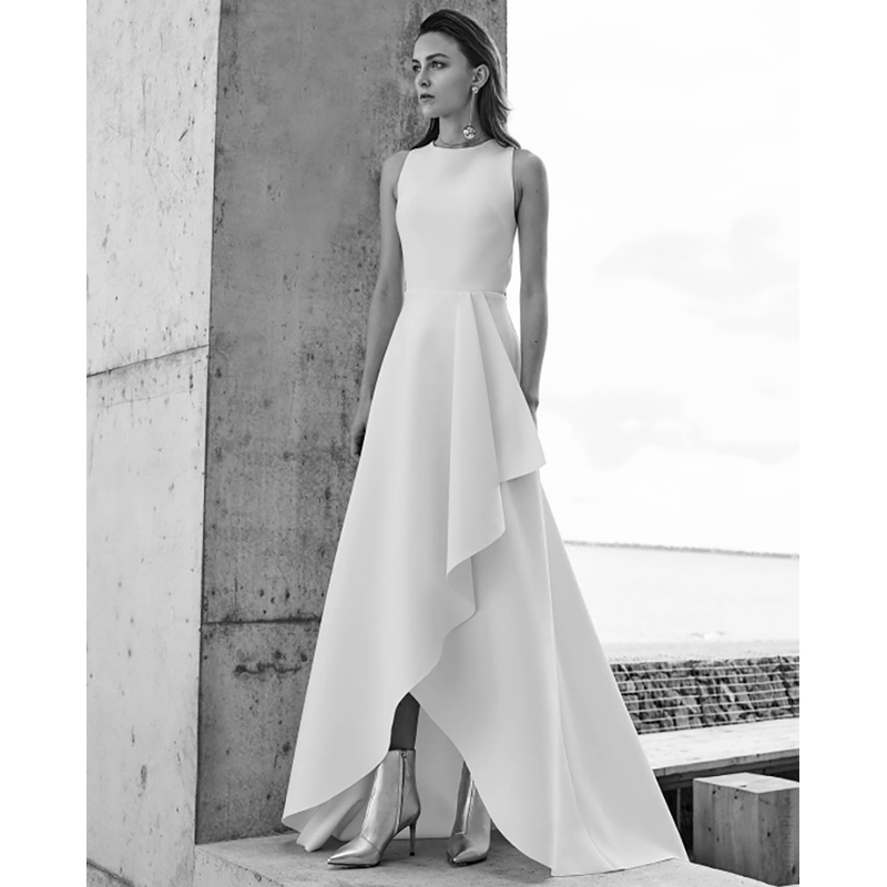 Verngo A line Simple Wedding Dress 2020 Elegant Boho Wedding Gowns Sleeveless Stain Bridal Dress Abiti Da Sposa