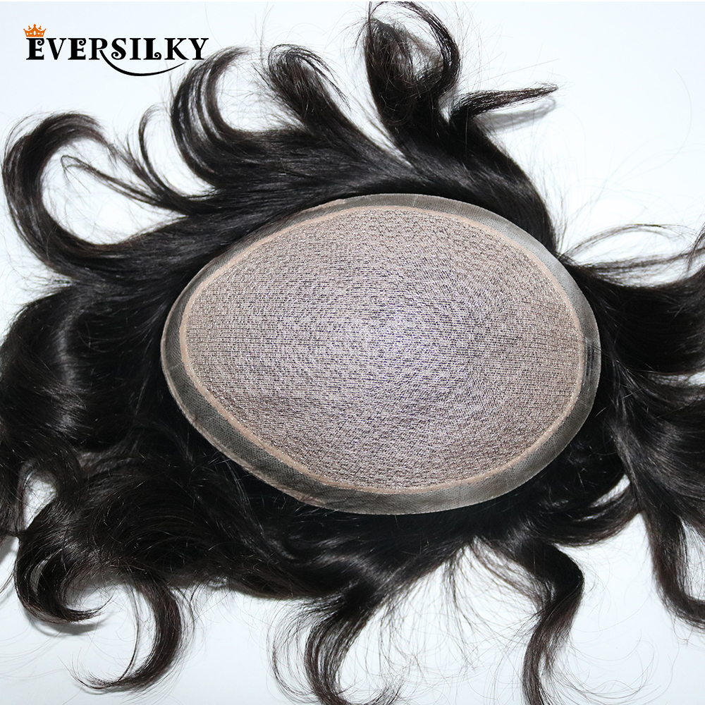 Eversilky Silk Base With Poly Around Men Toupee Natural Scalp Looking Bleached Knots Natural Hair Replacement Toupee Wigs