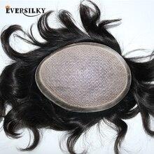 Eversilky ipek taban etrafında poli ile erkekler peruk doğal kafa derisi görünümlü ağartılmış knot doğal saç protezi peruk peruk