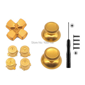 Image 2 - PS4 Thumb Grip Metal Thumb Grips Aluminum Replacement ABXY Bullet Buttons Thumbsticks Chrome D pad for Sony Playstation 4