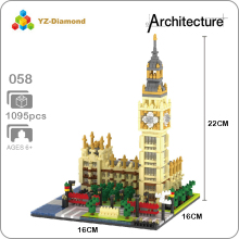 YZ 058 World Famous Architecture Elizabeth Tower Big Ben DIY 3D Model Mini Diamond Building Small Blocks Toy for Children no Box