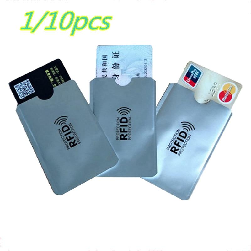 1pc/ 10pcs Aluminum Foil Anti-degaussing Card Cover RFID Shielding Bag NFC Credit Card Anti-theft Brush ID Card Protector
