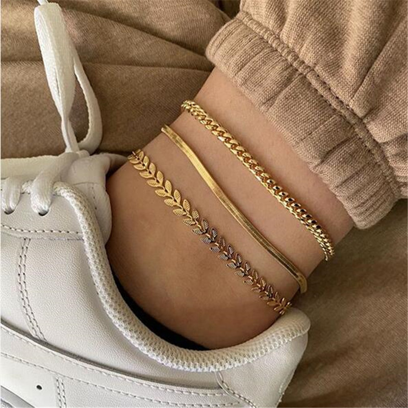 3Pcs/Set Vintage Boho Anklets For Women Fashion Gold Snake Chain Arrow Charm Ankle Bracelet Female Foot Jewelry