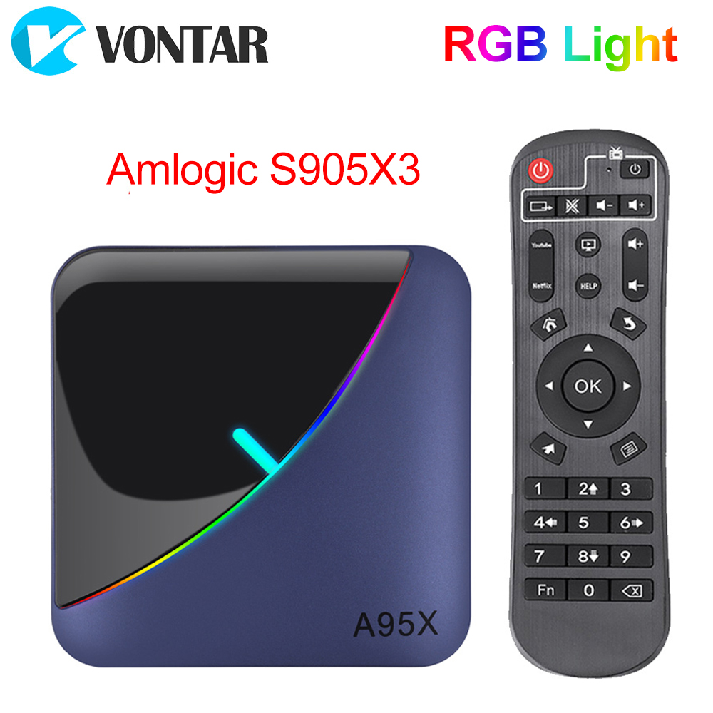 VONTAR A95X F3 RGB Light TV Box Android 9.0 4GB 64GB 32GB Amlogic S905X3 8K 60fps Wifi Netflix Media Player A95XF3 X3 2GB16GB