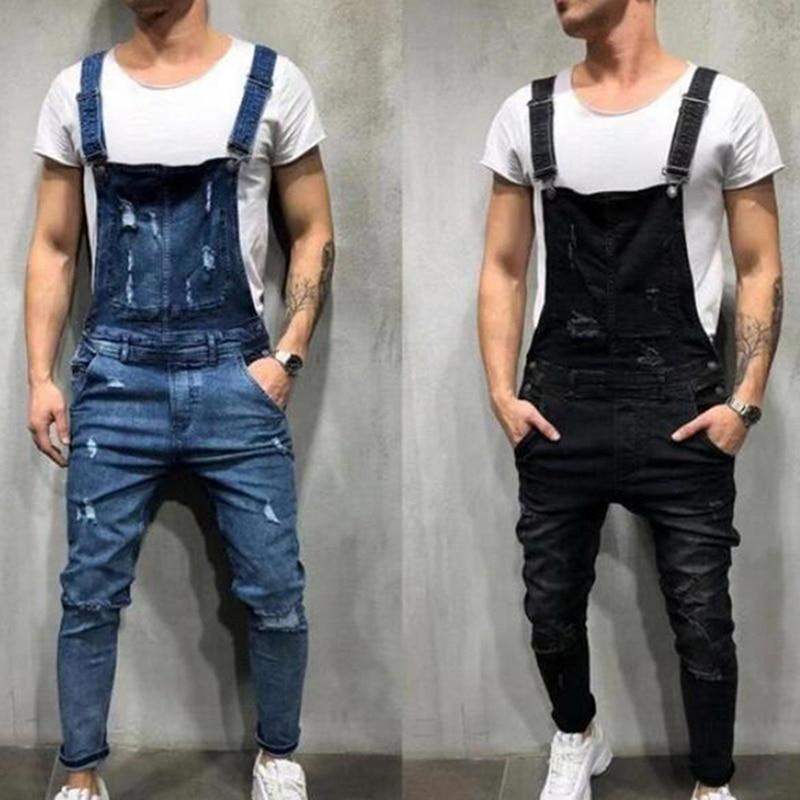 MJARTORIA  Fashion Men's Ripped Jeans Jumpsuits Hi Street Distressed Denim Bib Overalls For Man Suspender Pants Size S-XXL
