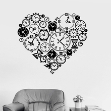 Vinyl Wall Decal Clock Time Love Steampunk Room Watchmaker Art Sticker Study Room Bedroom Home Decor Art Wall Sticker LW455 цена 2017